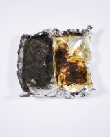 Foil remains - 5.75 x 5.5 x 1.75 in - foil, burnt protein resin