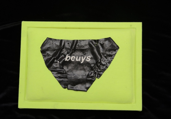 beuys - 6 x 9 x .025 in - 100% pigmented protein resin - on a box pillow