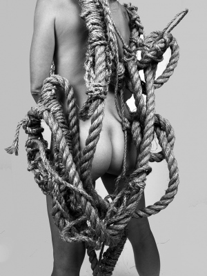 Coco Dolle with Burden Braid rope sculpture. Rope and photo by me