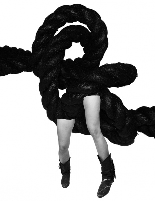 Coco Dolle legs wih rope sculpture - rope, photo and digitally composed by me